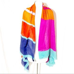 Gap Color Block Frayed Edge Scarf